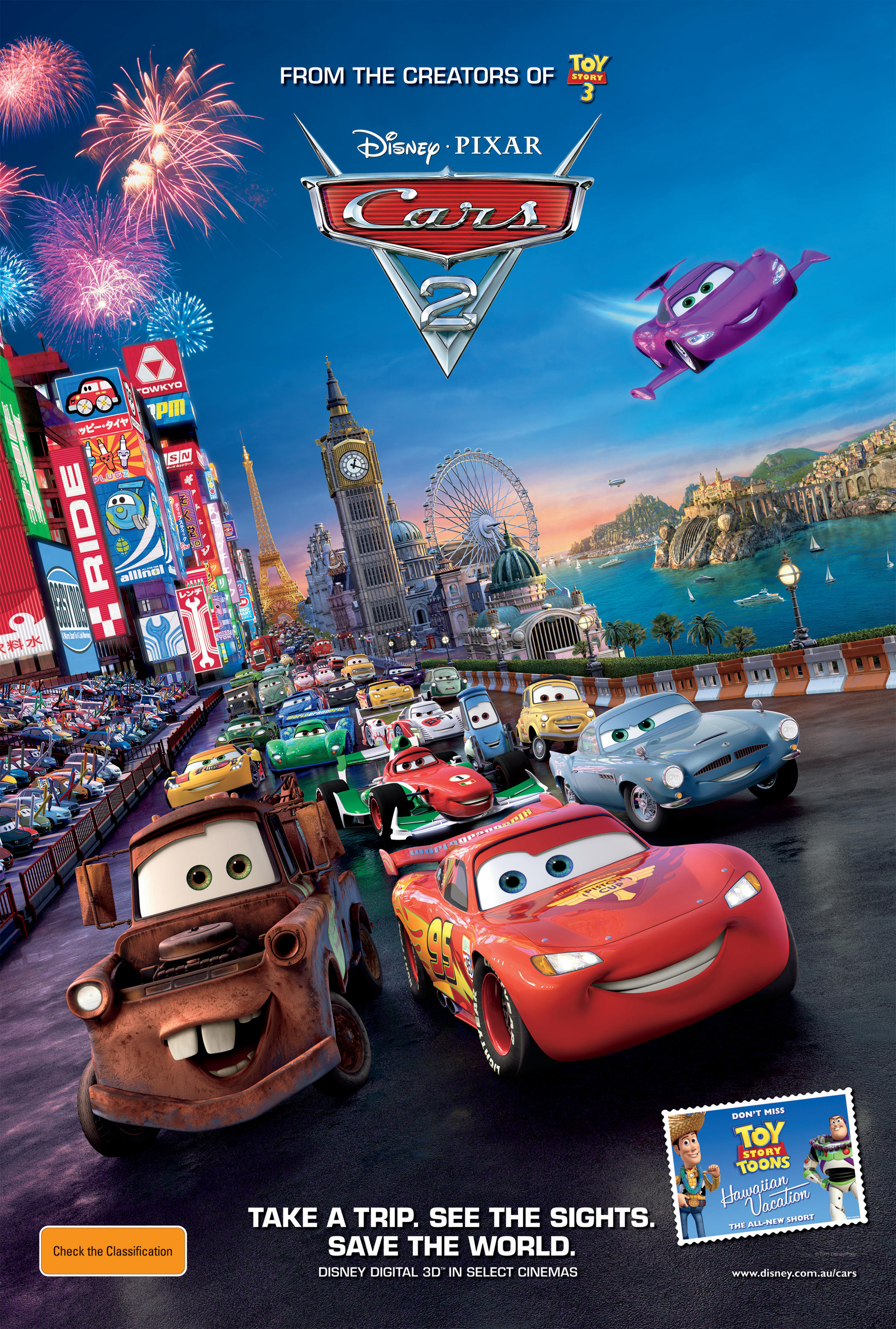 planes disney or pixar with Cars2 Payoff 1sht   Rgb on Todd  Cars furthermore Licencas likewise Watch together with Cars besides Breaking Toy Story 4 And The Incredibles 2 Get New Release Dates.