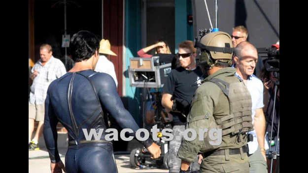 Henry Cavill as Superman on the set of Man of Steel