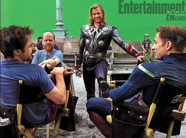 The cast and crew of The Avengers on set
