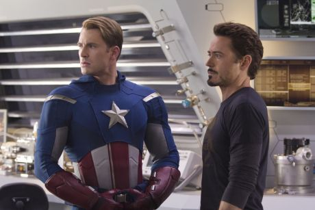 Marvel's The Avengers..CAPTAIN AMERICA (L) Chris Evans and TONY STARK (Robert Downey, Jr.