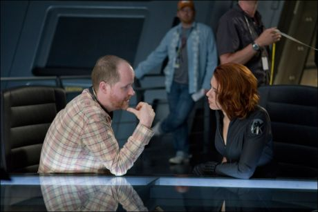 Joss Whedon on set of Marvel's The Avengers