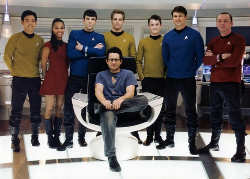 Star Trek (2009) crew with JJ Abrams