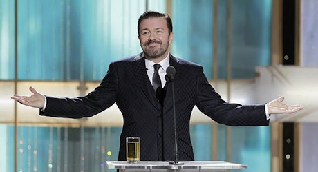 Rick Gervais hosts the Golden Globes