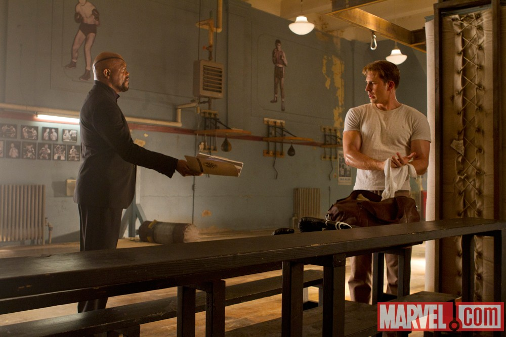 The Avengers - Nick Fury (Samuel L. Jackson) and Steve Rogers/Captain America (Chris Evans)