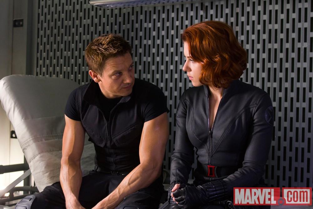 The Avengers - Hawkeye (Jeremy Renner) and Black Widow (Scarlett Johansson)