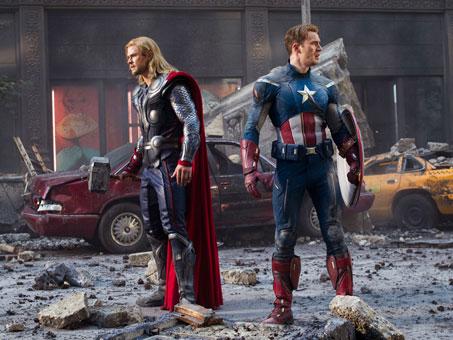 Chris Hemsworth (Thor) and Chris Evans (Captain America) in The Avengers
