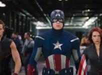The Avengers (2012) - Jeremy Renner (Hawkeye), Chris Evans (Captain America) and Scarlett Johansson (Black Widow)