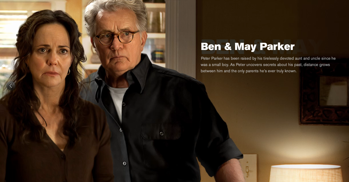 Martin Sheen and Sally Field are Ben and May Parker in The Amazing Spider-man