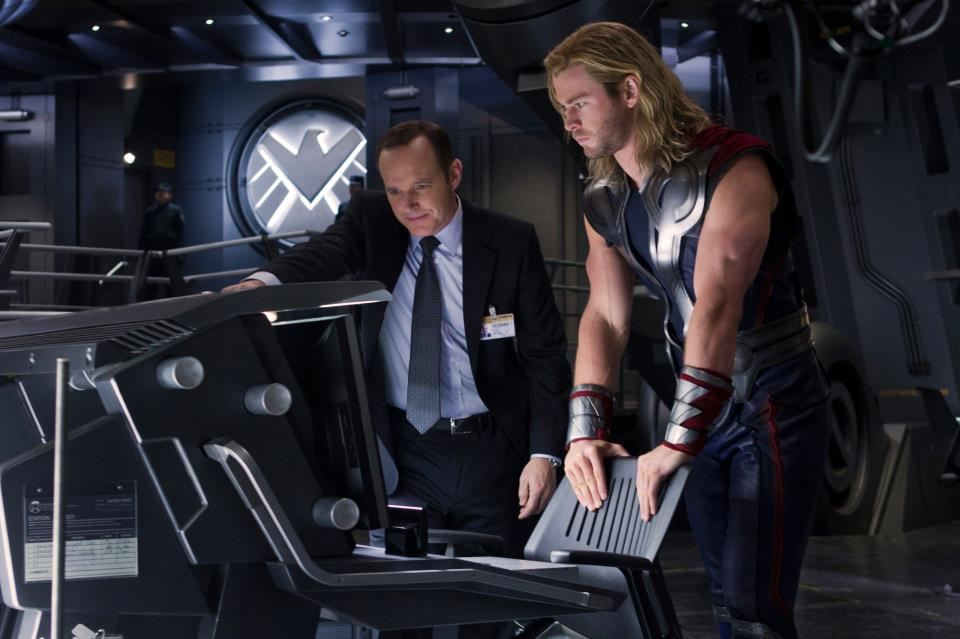 Agent Coulson and Thor in The Avengers