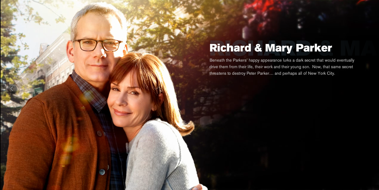 Campbell Scott and Embeth Davidtz are Richard and Mary Parker in The Amazing Spider-man