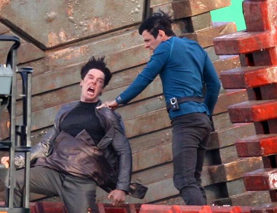 Star Trek 2 set - Quinto and Cumberbatch
