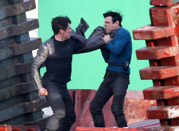 Star Trek 2 Set Photos - Benedict Cumberbatch and Zachary Qunito
