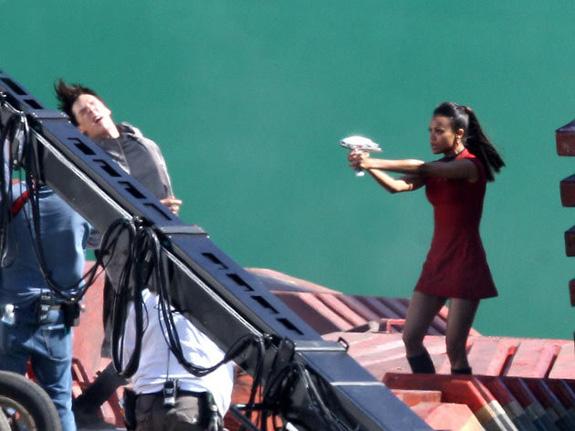 Star Trek 2 Set - Zoe Saldana and Benedict Cumberbatch