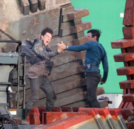 Star Trek 2 Set - Zachary Quinto and Benedict Cumberbatch