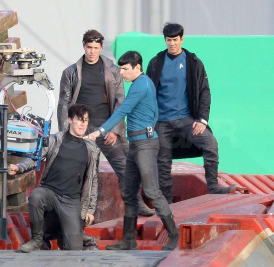 Star Trek 2 Set - Zachary Quinto and Benedict Cumberbatch and stunt doubles