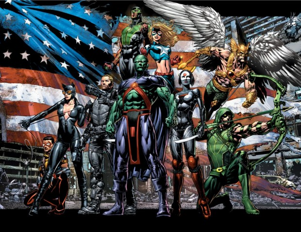 Justice League of America - Green Arrow, Katana, Martian Manhunter, Baz the Green Lantern, Stargirl, Vibe, Hawkman and Catwoman.