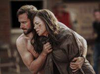 "Parker Pictures Productions presents ""Strangerland"" a Film by Kim Farrant, Starring Nicole Kidman, Joseph Fiennes. Also Starring Hugo WeavingProducers, MacDara Kelleher, Naomi WenckExectuive Producers Christopher Woodros, Molly Conners, Richard Payten, Andrew Mackie"