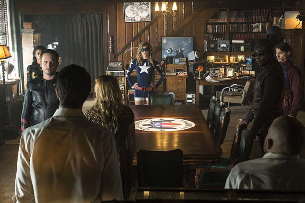 "DC's Legends of Tomorrow --""The Justice Society of America""-- Image LGN202b_0168.jpg -- Pictured: (L-R): Maisie Richardson-Sellers as Amaya Jiwe/Vixen, Patrick J. Adams as Hourman, Brandon Routh as Ray Palmer/Atom, Caity Lotz as Sara Lance/White Canary, Sarah Grey as Stargirl, Kwesi Ameyaw as Dr. Mid-Nite, Dan Payne as Obsidian, Matthew MacCaull as Commander Steel and Dominic Purcell as Mick Rory/Heat Wave -- Photo: Katie Yu/The CW -- © 2016 The CW Network, LLC. All Rights Reserved."