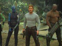 Guardians Of The Galaxy Vol. 2..L to R: Gamora (Zoe Saldana), Nebula (Karen Gillan), Star-Lord/Peter Quill (Chris Pratt), Drax (Dave Bautista) and Rocket (voiced by Bradley Cooper) ..Ph: Film Frame..©Marvel Studios 2017