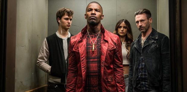 (l to r) Baby (ANSEL ELGORT), Bats (JAMIE FOXX), Darling (EIZA GONZALEZ) and Buddy (JON HAMM) decide on doing the heist in TriStar Pictures' BABY DRIVER. PHOTO BY: wilson webb COPYRIGHT: © 2016 Columbia Pictures Industries, Inc. All Rights Reserved.